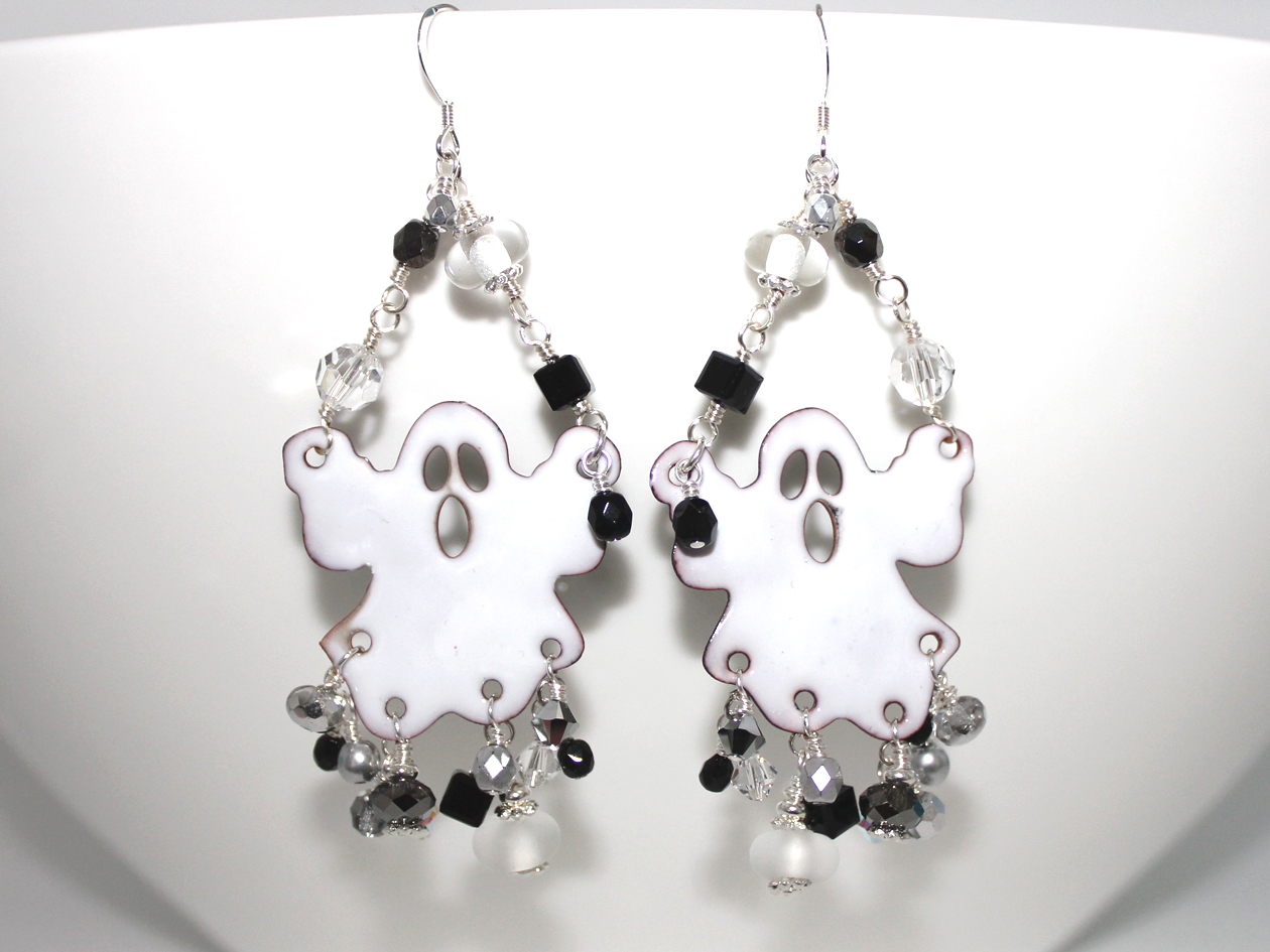 eea5e92ffe8ce Boo!!! Super Cute Ghost Handmade Enamel Earrings
