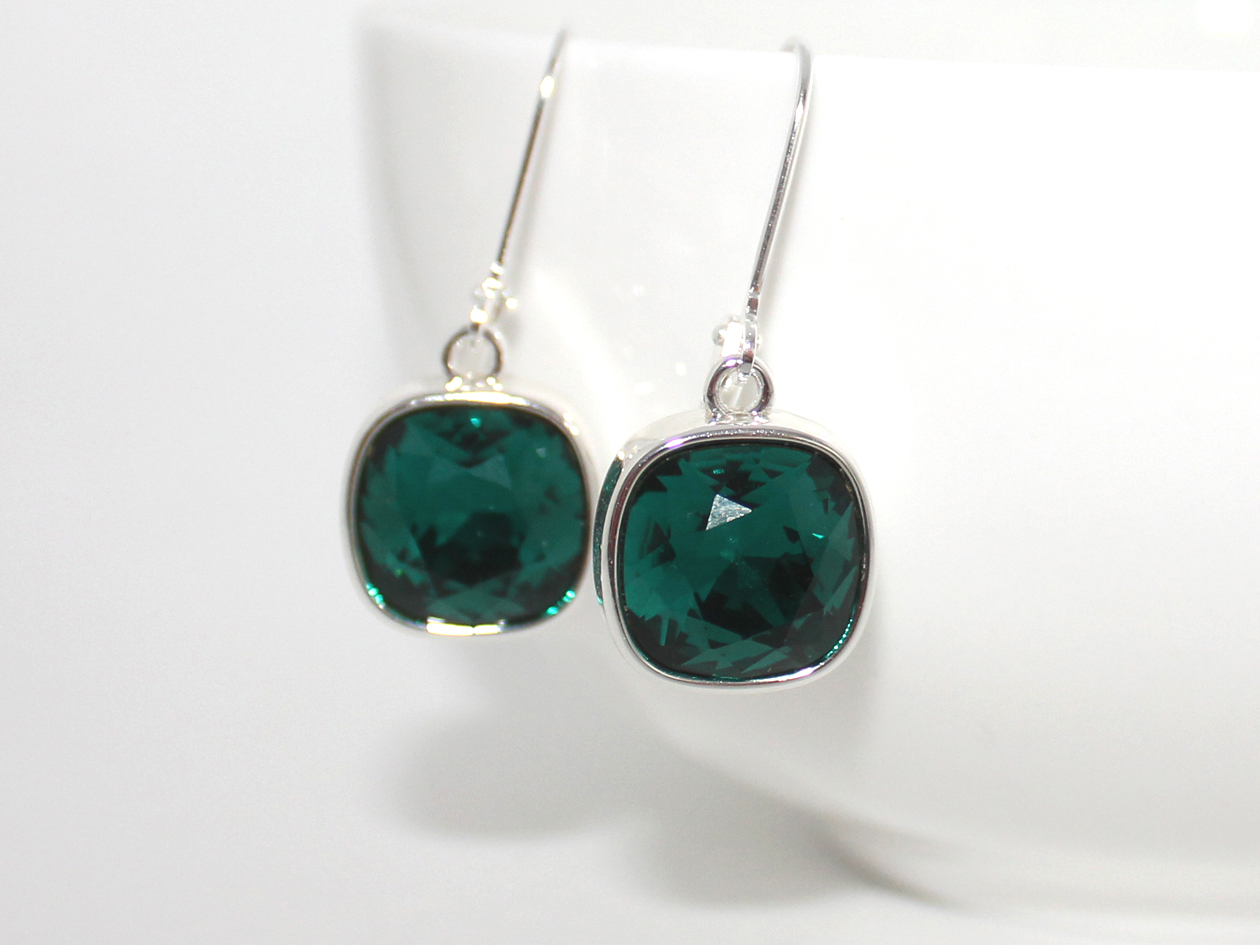 Elegant Emerald Green Swarovski Cushion Lever Back Earrings