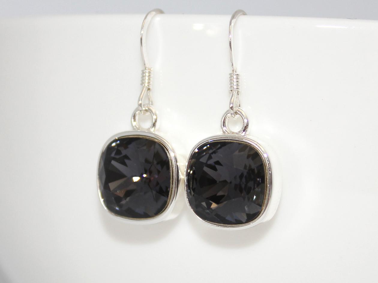 adcb0024d Gorgeous Graphite Grey 10mm Swarovski Crystal Cushion Earrings ...