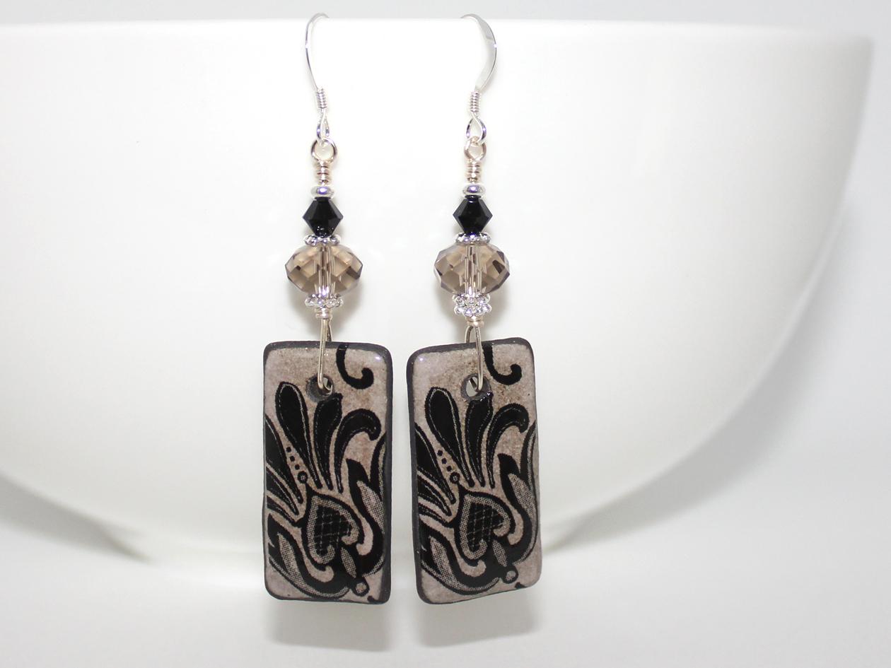5b551158f Beautiful Black Peacock Pattern Ceramic Handmade Earrings – Wendi ...