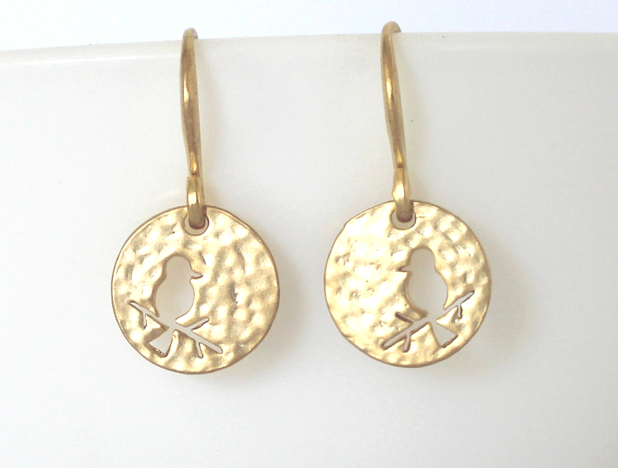Sweet Matte Golden Hammered Bird Cut Out Earrings Wendi Lindsay Jewellery