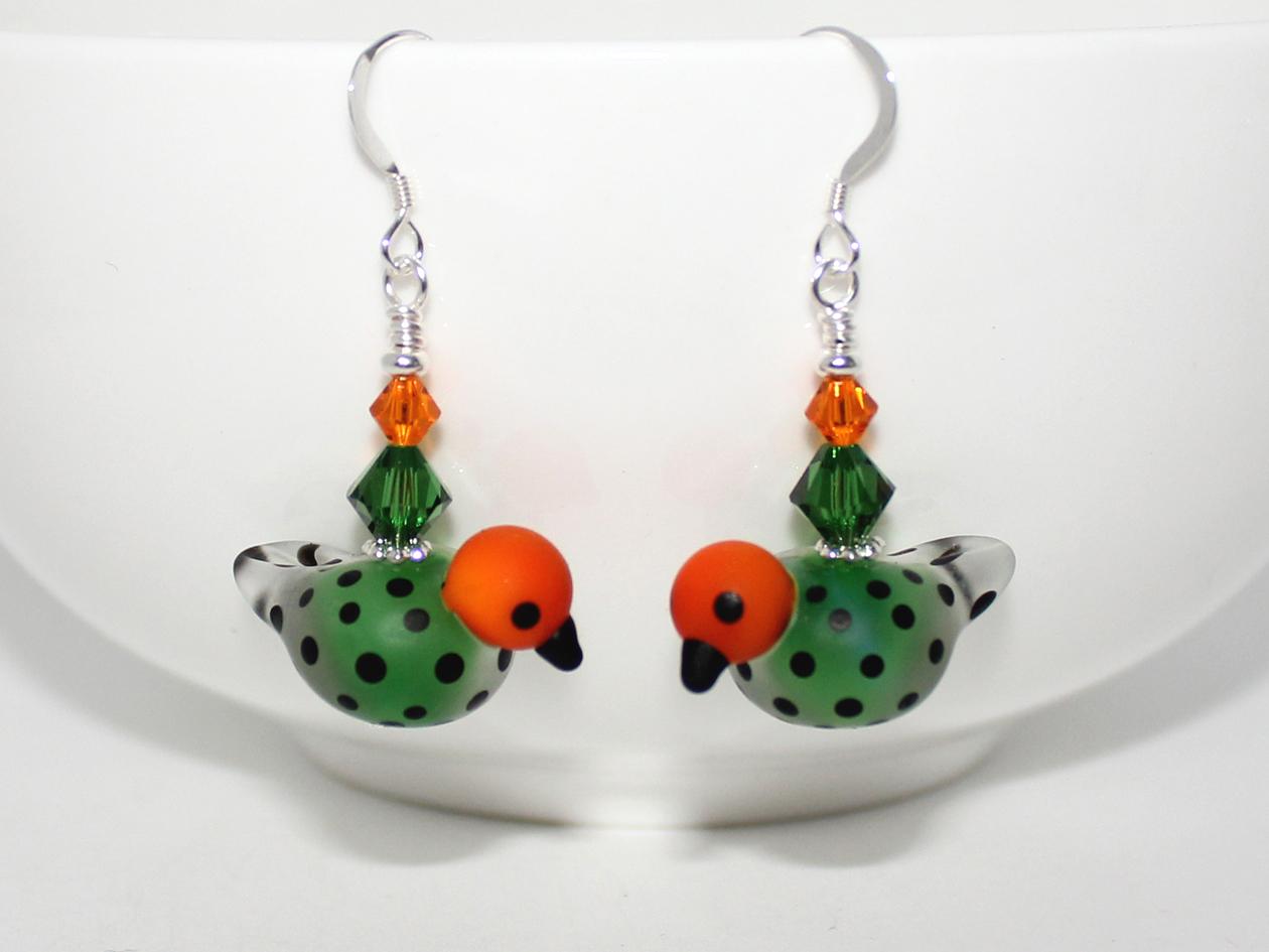Gorgeous Green Bird Handmade Earrings Wendi Lindsay Jewellery